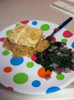 chipotle tofu, whole wheat couscous, and sauteed spinach and onions ...