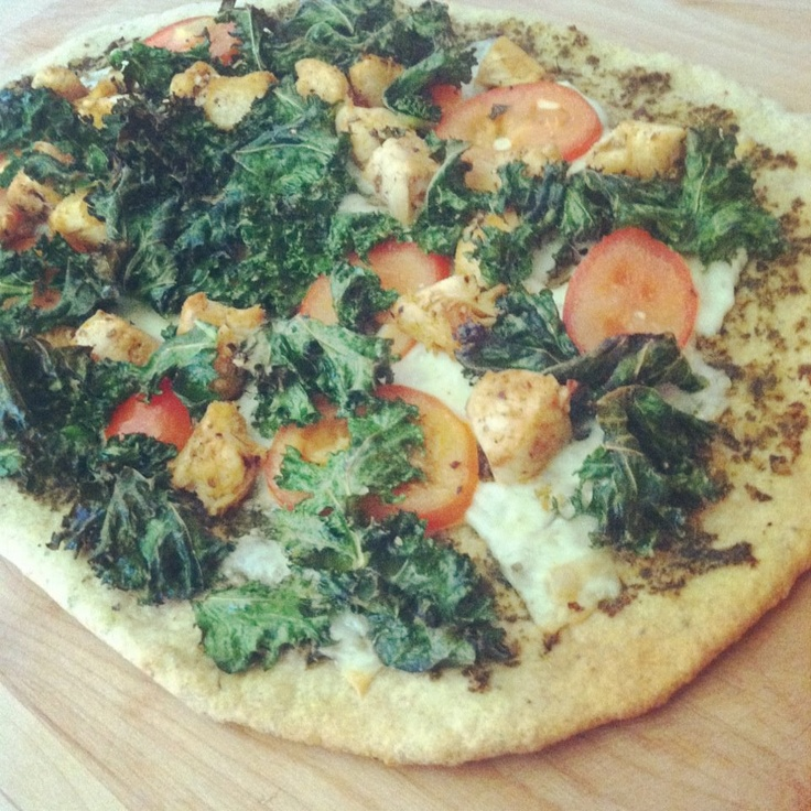 Pesto Pizza with Kale, Roma Tomatoes,chicken on whole wheat
