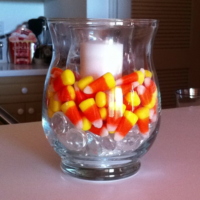 Cute candy corn centerpiece wedding