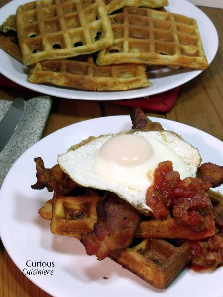 Cornmeal Herb Waffles with Fried Eggs via @Sarah | Curious Cuisiniere