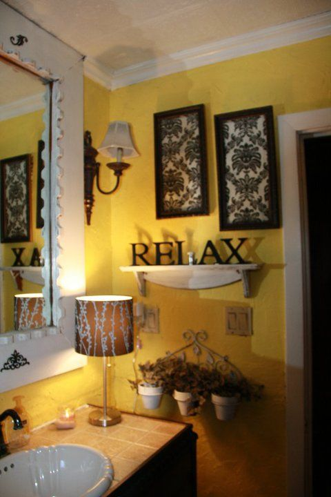 yellow and black bathroom