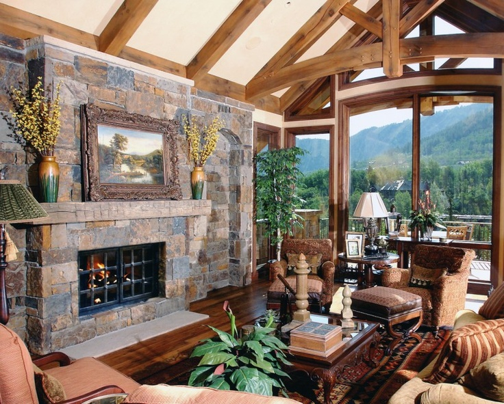 fireplace-vaulted ceiling | For the Home | Pinterest
