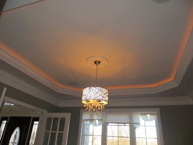 tray ceiling with rope lighting chandelier home pinterest. Black Bedroom Furniture Sets. Home Design Ideas
