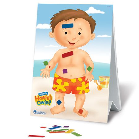 Where is Howie's owie?  Magnetic Board with 'bandaids' to teach body part names.