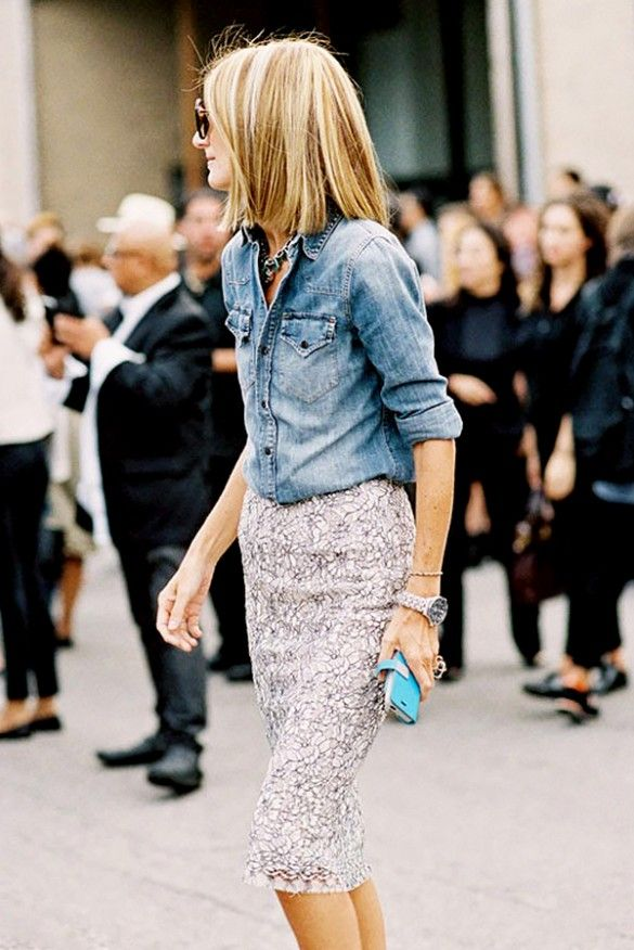 Pair a chambray shirt with a lace pencil skirt