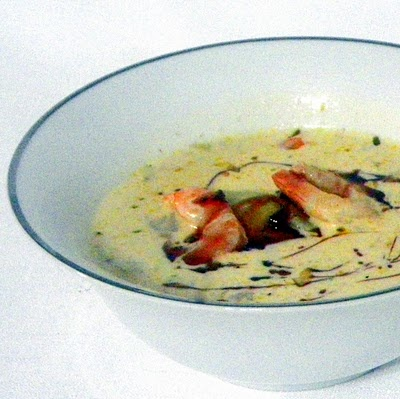 Creole SHRIMP and ARTICHOKE SOUP with Garlic Drizzle!