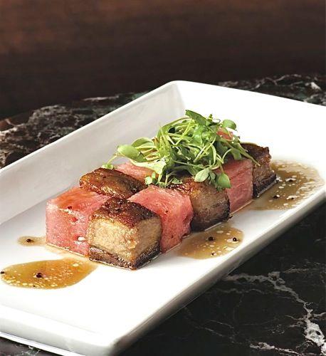 Pork belly & Watermelon App- Kim Sunee | Foodgasm | Pinterest
