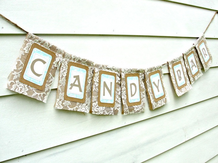 CANDY BAR Rustic Burlap Wedding Banner, Unique Reception Decor with ...