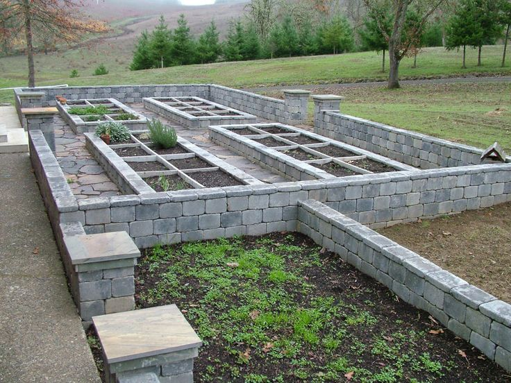 Stone walled garden with raised beds Hardscape ideas