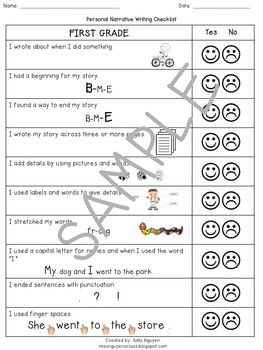 Checklist for narrative essay