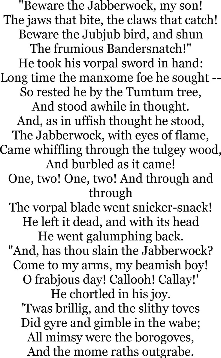 Jabberwocky quot by lewis carroll poems poetry http www annabelchaffer