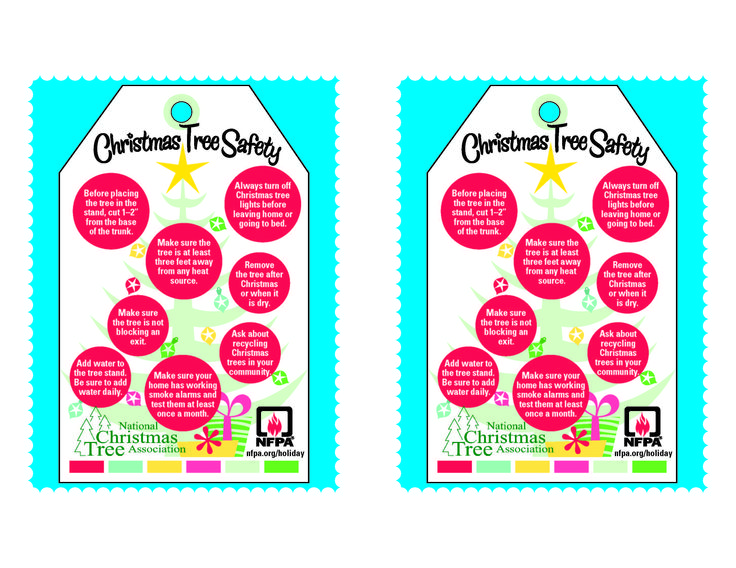 Printable Christmas tree tags with fire safety tips from the National ...