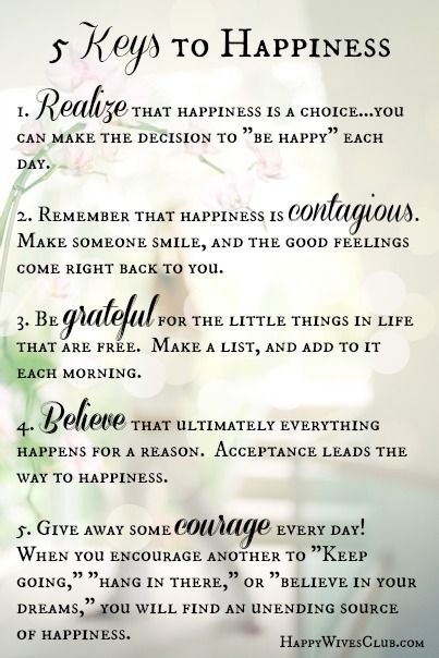 The 5 Keys to Happiness. Click to Read #Marriage Monday Blog Post at www.happywivesclub.com