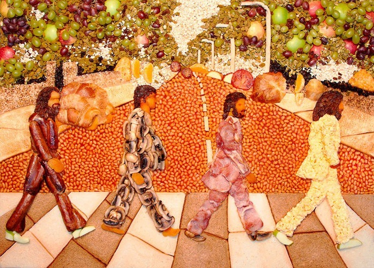 """""""Let It Bean"""" – Beefeater Grill have re-created the image of The Beatles crossing Abbey Road using items from their breakfast menu. The artwork was created by Paul Baker using an array of items including sausages, bacon, scrambled egg, tomatoes, croissants, crumpets, hash browns and toast, as well as fresh fruit, cereal and dried fruit toppings."""