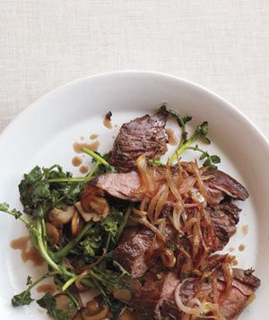 Skirt Steak With Shallots and Sautéed Watercress - Yum!