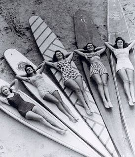 B vintage beach/surf photos = fun half-bath decor