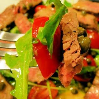 Grilled-Steak and Arugula Salad with Mustard Caper Vinaigrette