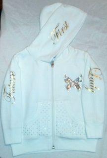 Swarovski Crystal & Gold Foil embellished white cotton hoodie