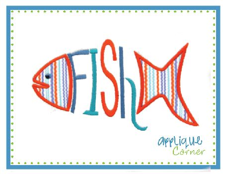 Fish Word Applique Design | stitch | Pinterest