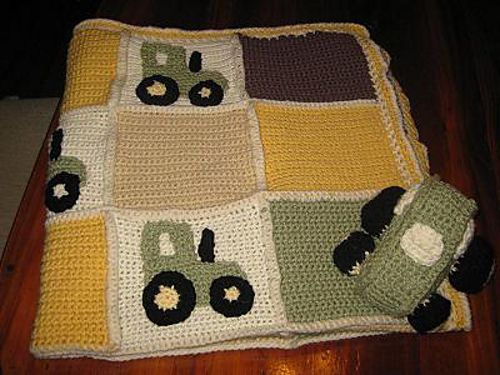 Crochet Pattern For John Deere Afghan : John Deere Tractor Baby Blanket pattern by Carrie Sheldrick