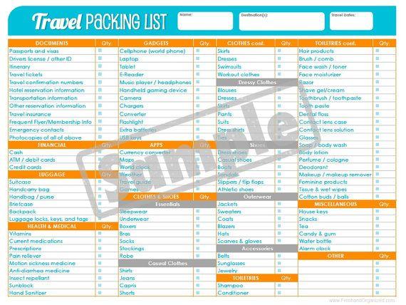 travelplanner packing list