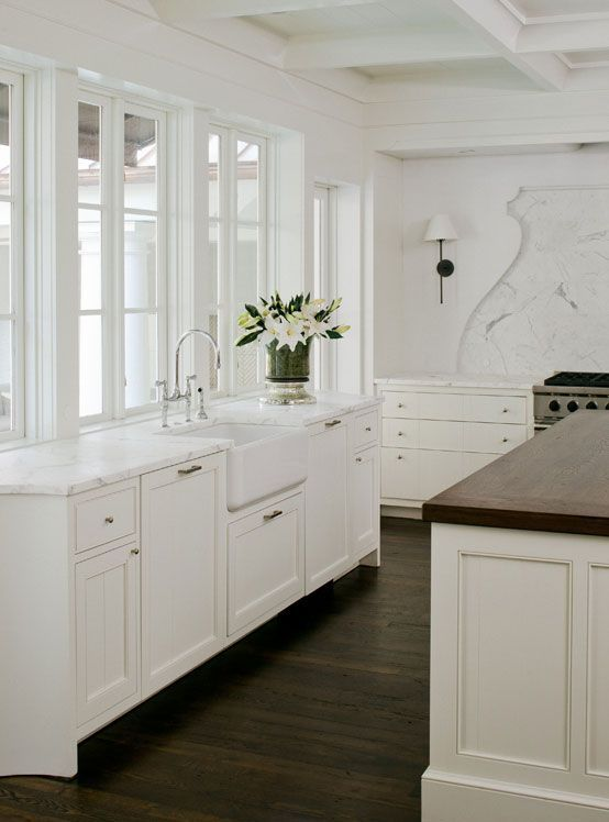 white kitchen cabinets dark wood floors  For the House  Pinterest