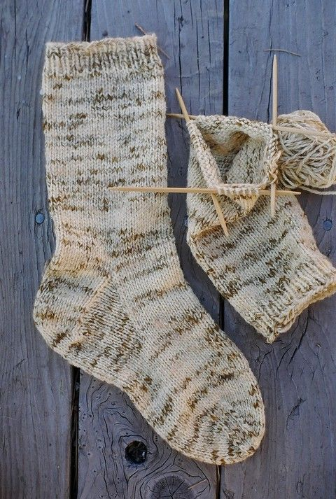 Free Knitting Patterns For Socks Using Worsted Weight Yarn : Mens heavy worsted socks pattern Knit One, Purl Two Pinterest