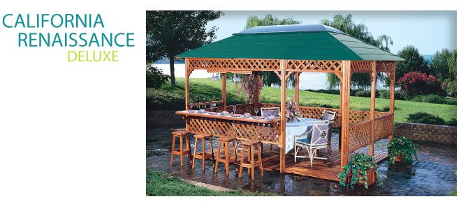 Includes a bar and bar stools landscape pool decks for Cal spa gazebo