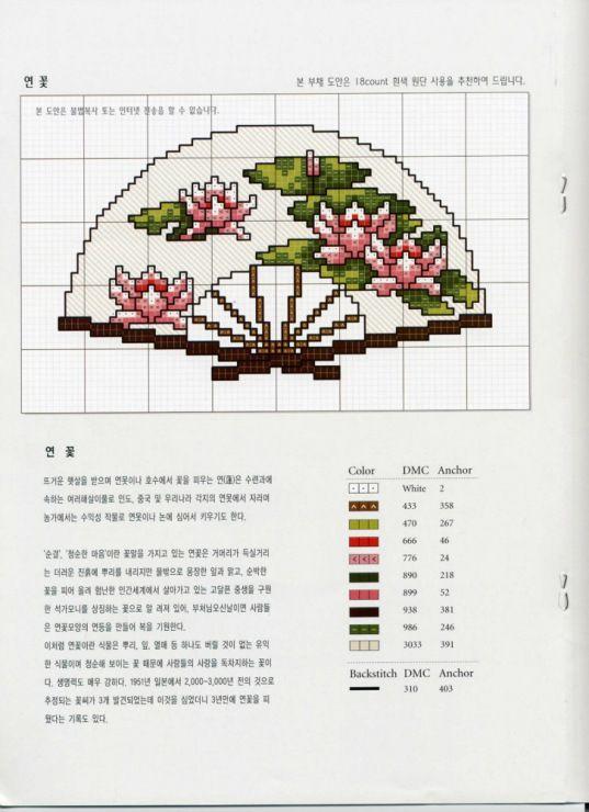 Схемы вышивки крестом вееров 401