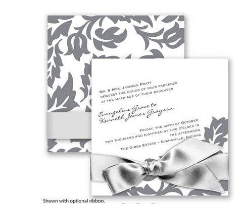 Modern Damask Wedding Invitation in Mercury by David's Bridal. #davidsbridal #weddinginvitations #graywedding