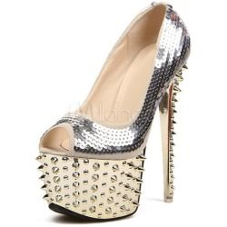 nice Sequin Sequined Cloth Glamour Women's Peep Toe Shoeshttp
