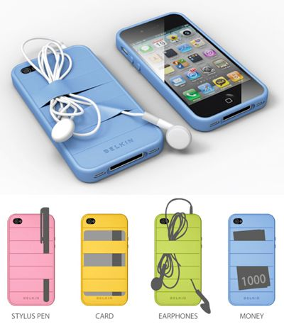 It's called Elasty and it was created by designer Yoori Koo. It's a silicone bumper fitted with elastic strips which allow you to stash your headphones, pens, cards etc. on the back of the phone. brilliant idea!