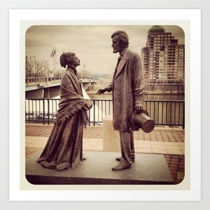 Harriet beecher stowe and president abraham lincoln art print by nigel
