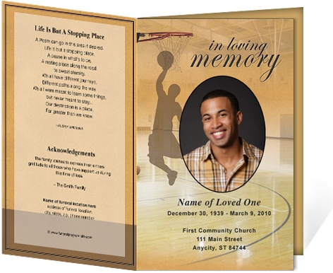 funeral bulletins basketball single fold funeral programs