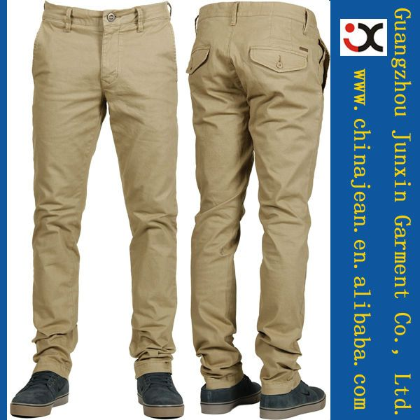 Mens Khaki Pants Khaki pants are a stylish and versatile wardrobe basic for the modern man and can be paired with several different types of shirts and tops to create different looks. Take your pick of different styles and cuts to match any wardrobe.