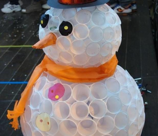 Pin by candy kaminsky on holiday ideas pinterest for Snowman made out of cups