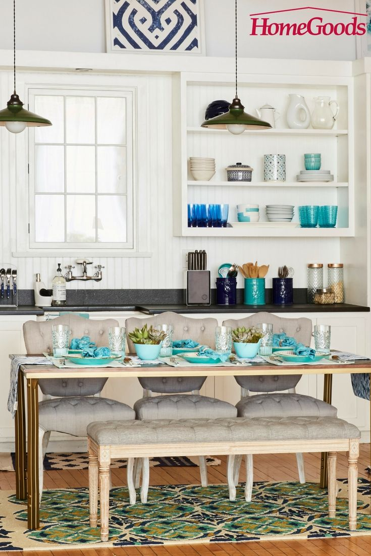 Teal kitchen island