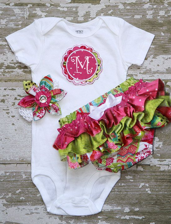 Patchwork hot pink dots, lime green bottom bloomers and fabric flower headband and Applique Onesie short or long sleeve. $48.00, via Etsy.