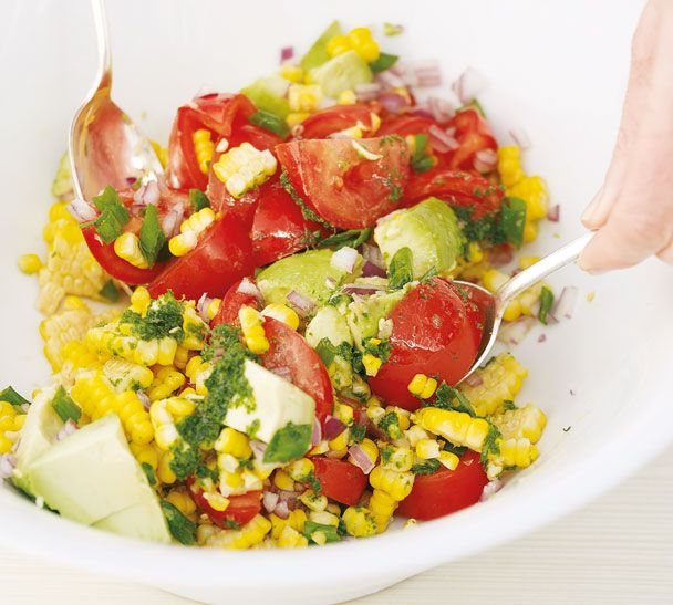 Cob Salad of Corn, Avocado & Tomato with Basil Oil by Annabel-Langbein