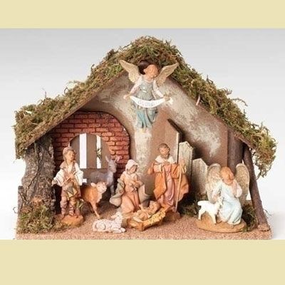 Piece 5 quot nativity set with italian stable fontanini