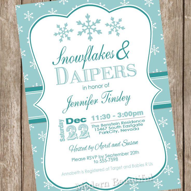 snowflake baby shower invitation winter baby shower invitation