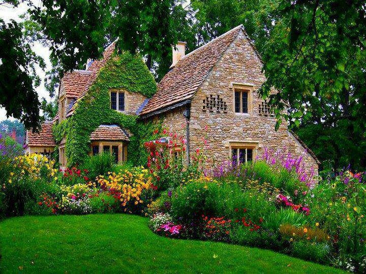 Beautiful stone home gardens habitat pinterest Beautiful homes and gardens