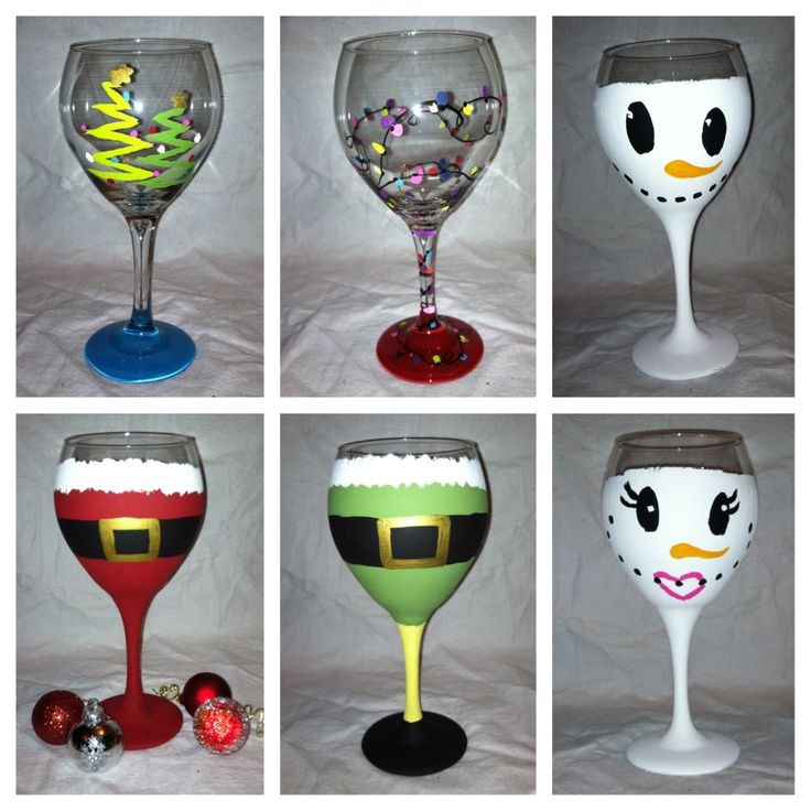 Hand painted holiday wine glasses wine glasses pinterest for Christmas painted wine glasses pinterest