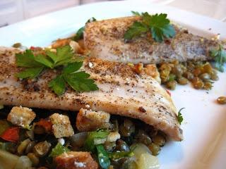 Pan-Roasted Mahi-Mahi with Herbed Lentils and Breadcrumbs