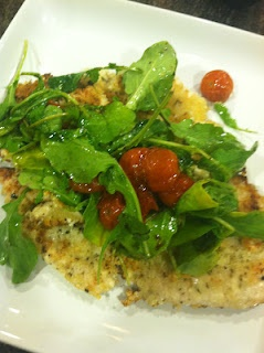 ... Chicken Milanese With Slow-Roasted Cherry Tomatoes and Arugula