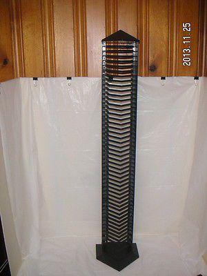 Black plastic cd jewel case 50 holder floor tower storage organizer r - Cd storage rack tower ...