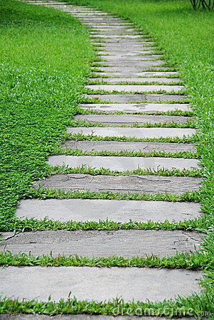 Long pathway a garden runway pinterest for Stone path in grass