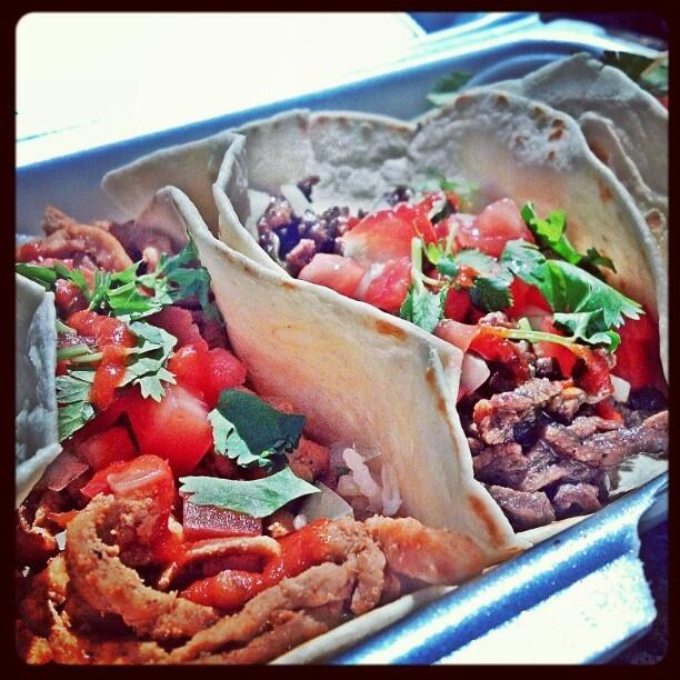 Spicy Korean pork & bulgogi tacos from a #streetfood truck