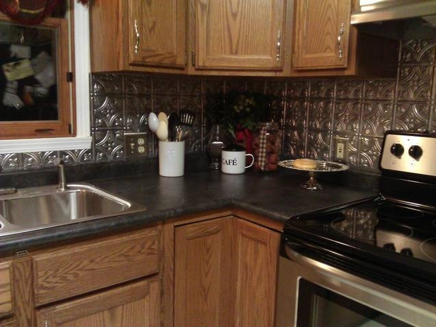 our weekend project tin backsplash my style pinterest