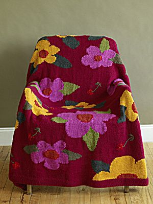 Knitted Flower Power Afghan